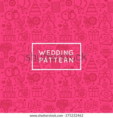 Vector seamless pattern and background for wedding invitations and valentine's card postcards and banner - love and marriage related icons in trendy linear style - stock vector