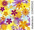 vector seamless pattern background with flowers - stock vector