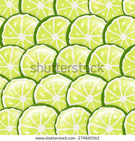 Vector seamless pattern background with fresh lime slices - stock vector