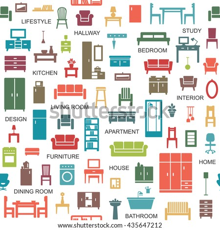 Vector seamless pattern background with home furniture icons 5
