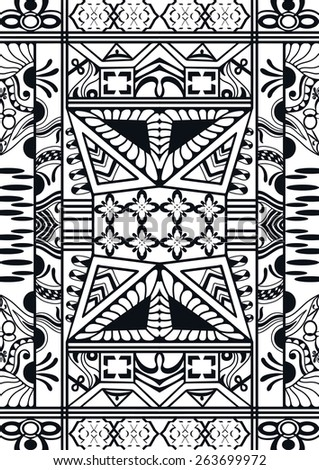 Vector seamless pattern. Black and white hand drawn geometric stylish background. - stock vector