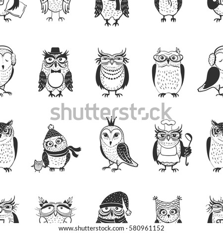 beautiful vector set twelve owls owls stock vector