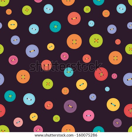 Vector seamless pattern. Bright colors buttons on dark background. Ideal for textile, wallpaper, wrapping, web pages, etc. - stock vector