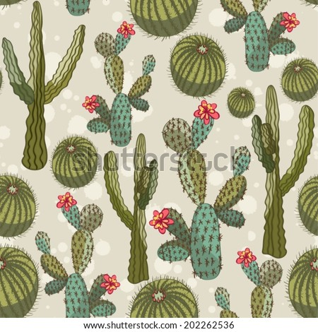 vector seamless  pattern - cactus - stock vector