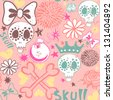 "Vector seamless pattern ""Cartoon funny skulls"" with bombs, flowers, crowns and bow./gentle pink - stock vector"