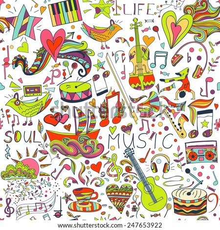 Vector seamless pattern, cute background. Draw, doodles. Notes, love, musical instruments, music, life. Illustration can be used for wrappers, websites, banners, fabrics, posters, surface texture.