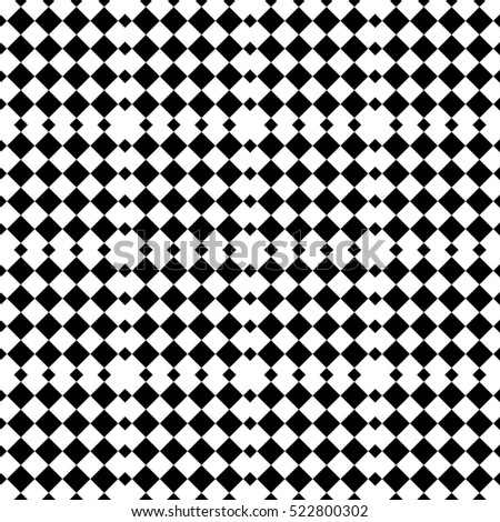 Vector seamless pattern. Decorative element, design template with black and white diagonal rhombus. Background, texture with optical illusion effect. Game tiles in op art style.