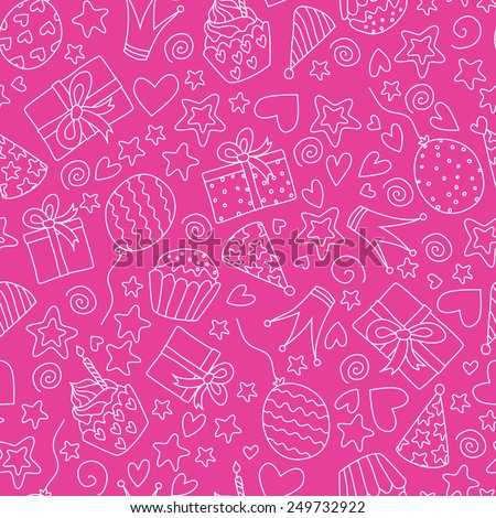 Vector seamless pattern. Doodle Birthday party background. Cute vector illustration.