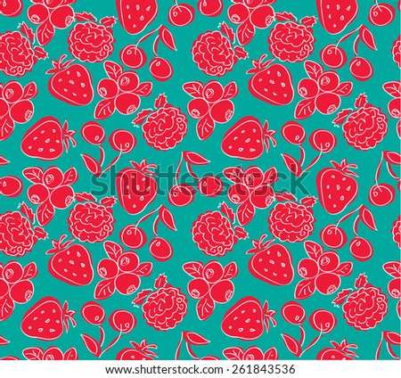 Vector seamless pattern, doodle design. Colorful illustration, cute background. Childish pattern. Endless fruit background. Berry backdrop.  - stock vector