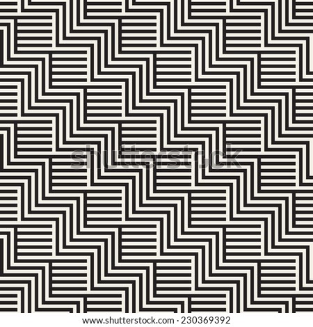 Vector seamless pattern. Endless geometric ornate. Monochrome diagonal striped zigzag. Modern repeating texture