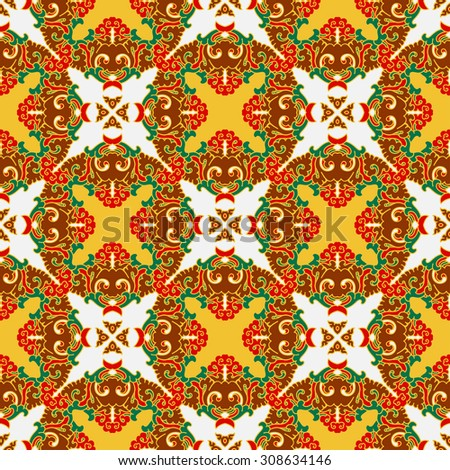 Vector seamless pattern ethnic style background. Vintage decorative texture for wallpapers, backgrounds and page fill. Indian, arabic motive.