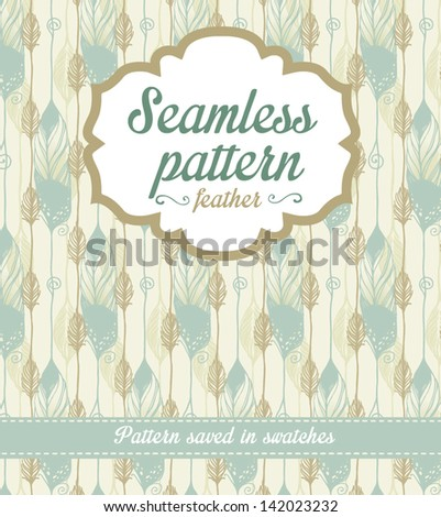 Vector seamless pattern. Feather - stock vector