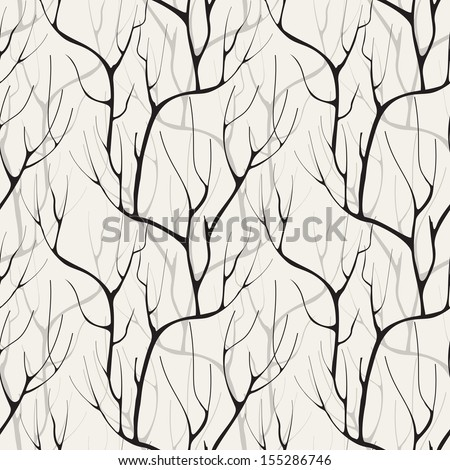 Vector seamless pattern. Floral background with branches without leaves - stock vector