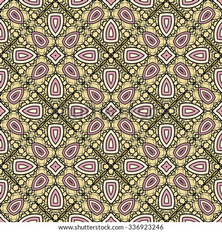 Vector seamless pattern, floral geometric ornament, tribal ethnic arabic indian motif. Hand drawn abstract sketchy background. Repeating fabric texture