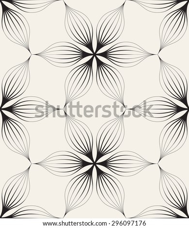 Vector seamless pattern. Floral stylish background. Monochrome repeating texture with linear geometric flowers. - stock vector