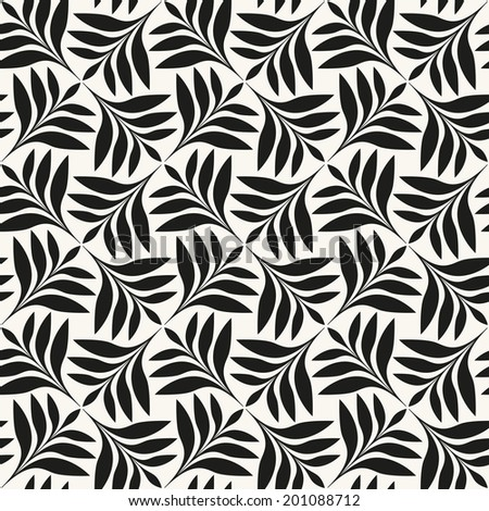 Vector seamless pattern. Floral stylish background. Regular stylized monochrome branches - stock vector