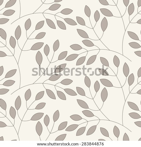 Vector seamless pattern. Floral stylish background with graphic leaves. Contemporary graphic design. - stock vector