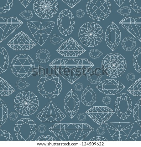 Vector seamless pattern flowers from diamond design elements - stock vector