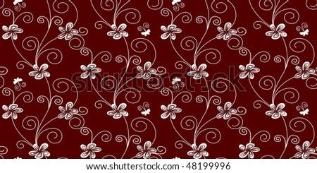Vector seamless pattern: flowers, swirls and butterflies over red background. - stock vector