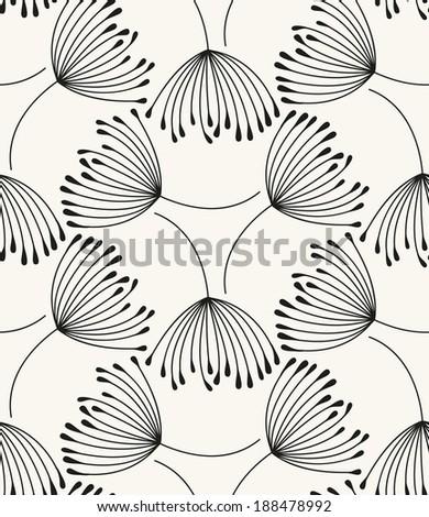 Vector seamless pattern. Flying of dandelion seeds - stock vector