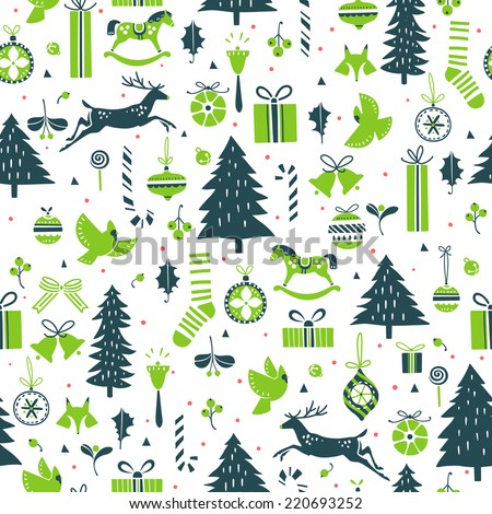 Vector seamless pattern for Christmas and New Year events  - stock vector