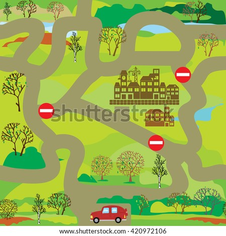 Vector seamless pattern for design or educational gae maze for children. Help car driver to find way to city.