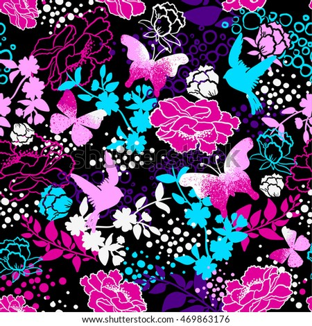 Vector seamless pattern for girls with birds, butterfly and flowers. Stylish graphic design.  Fashion Girlish print