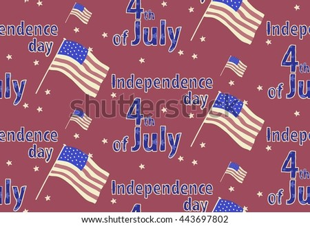 Vector seamless pattern for independence day of the USA. Dark-red background with flag illustration and 4th of July lettering