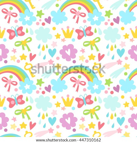 Vector seamless pattern for kids. Magic miracle background with a rainbow and butterflies. Tender background for children's things.