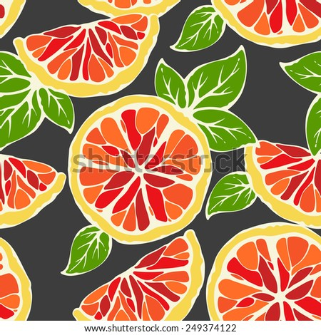 Vector seamless pattern full slice & half slice grapefruit - stock vector