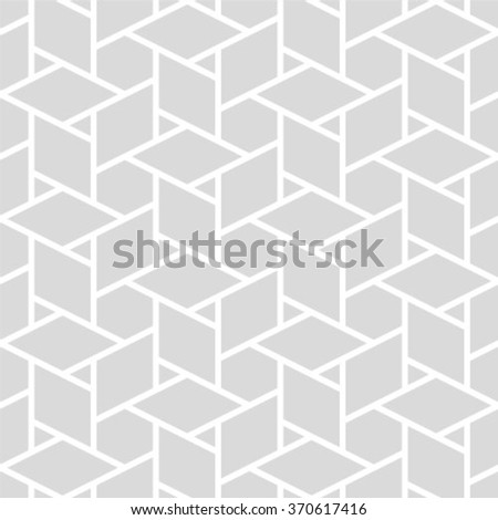 Vector seamless pattern - geometric modern hexagon polygon gray and white background - stock vector