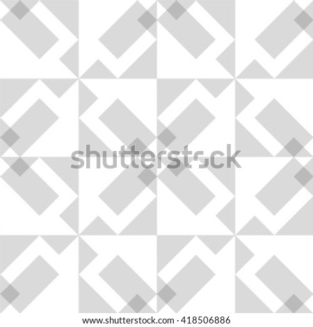 Vector seamless pattern - geometric modern polygon gray and white background - stock vector
