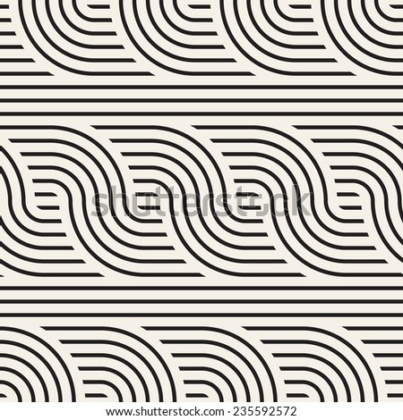 Vector seamless pattern. Geometric striped ornament. Monochrome background with optical twist - stock vector