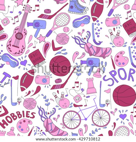 Vector seamless pattern. Hand drawn doodle set of hobbies and sport things. No background - stock vector