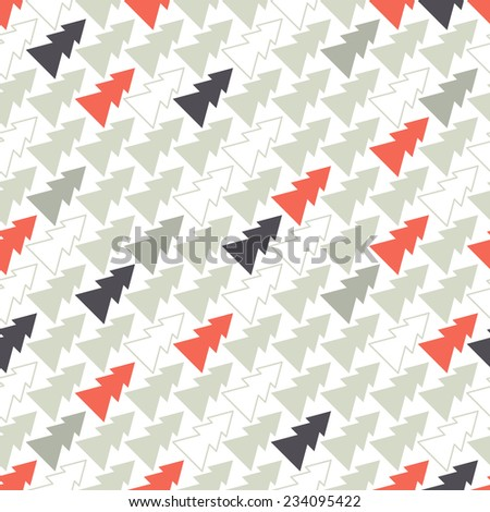 Vector seamless pattern. Holiday texture with colorful diagonal Christmas trees. Stylish geometric print - stock vector