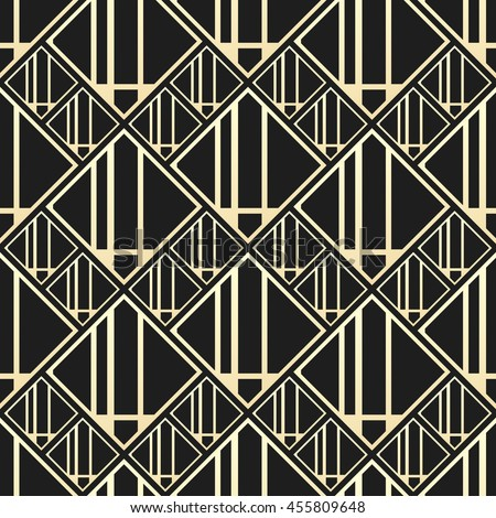 Vector Seamless Pattern In Art Deco Style Luxury Background With Square Elements Golden And