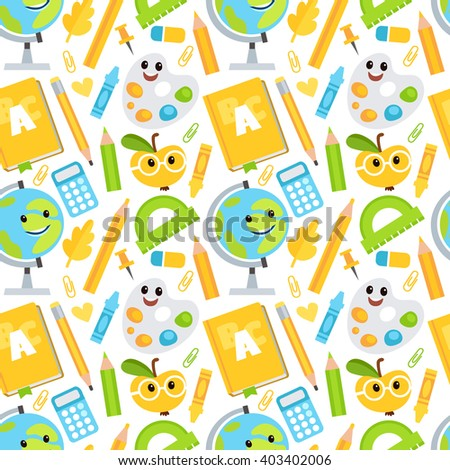 Vector seamless pattern in cartoon style with school objects. Pattern with a globe, books, rulers, pencils, buttons and other objects. Back to school. Conceptual background. - stock vector