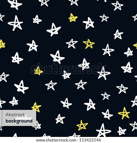 Vector seamless pattern in childish style with doodled stars - stock vector