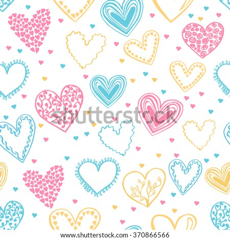 Vector seamless pattern in delicate pink, blue and yellow colors on white background. Beautiful hearts drawn in doodle style for your design.