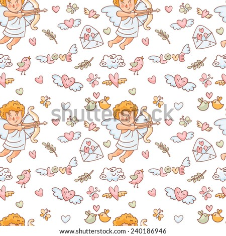 Vector seamless pattern in doodle style with cupids, hearts and other elements.