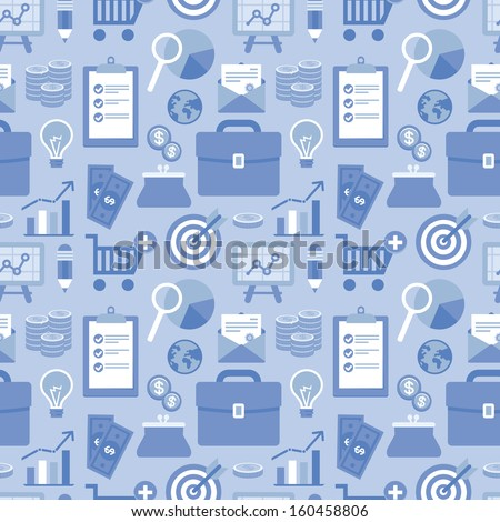 Vector seamless pattern in flat style with business and finance icons and signs in blue color - for website background - stock vector