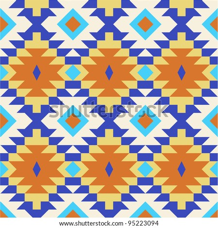 Vector seamless pattern in navajo style - stock vector