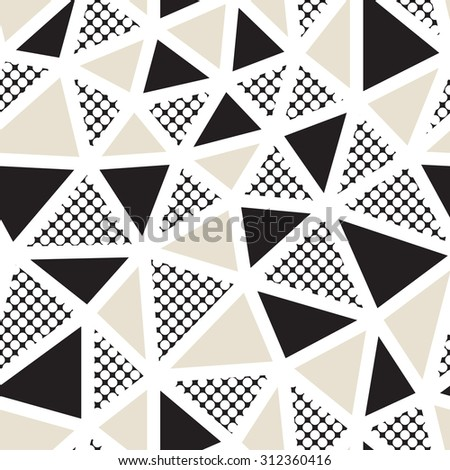 Vector seamless pattern. Irregular abstract grid. Graphical hand drawn background. Reticulated monochrome texture. Filled black and beige triangles, polka dots. - stock vector