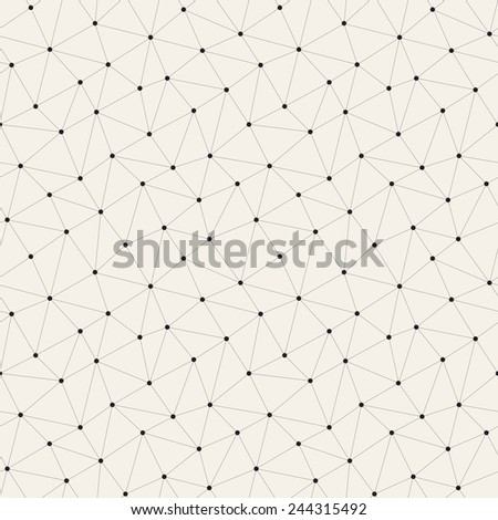 Vector seamless pattern. Irregular abstract linear grid with circles in nodes. Graphical hand drawn background. Reticulated monochrome texture - stock vector
