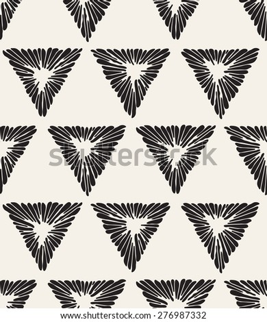 Vector seamless pattern. Irregular abstract swatch with ornate triangles. Graphical hand drawn background. Reticulated monochrome texture. Hipster stylish print. - stock vector