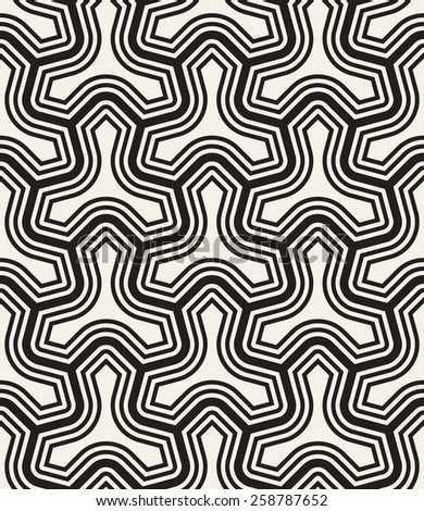 Vector seamless pattern. Linear graphic design. Decorative geometric grid. Regular background with symmetrical trefoils