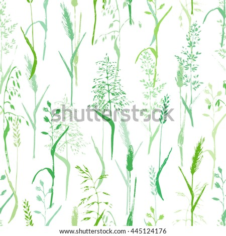 Vector seamless pattern. Meadow grass natural design. Grass silhouettes in green on white background. For ecological nature and organic product. - stock vector