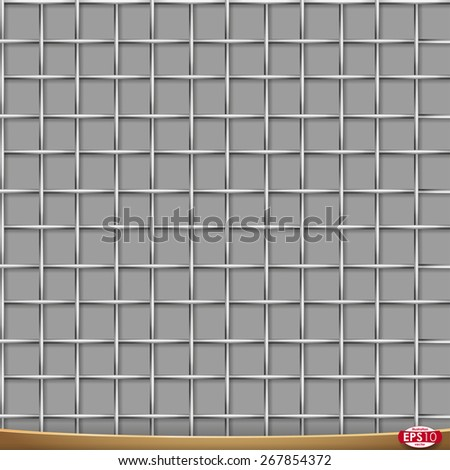 Vector seamless pattern. Metal wire netting, cross structure. Grayscale illustration with shadows on gray background. - stock vector
