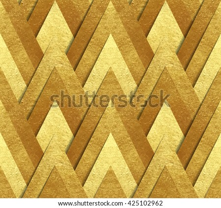 Vector seamless pattern - metallic gold paper cut at geometric bright background made of foil triangles with transparent shadow