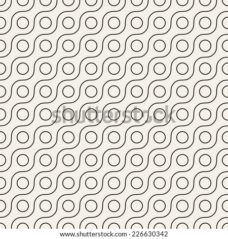Vector seamless pattern. Modern dotted texture. Repeating abstract background. Small circles and wavy linear grid. Graphic backdrop. Diagonal direction - stock vector
